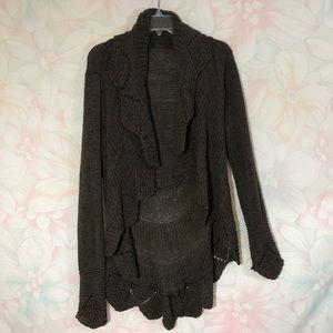 BCBGMAXAZRIA Crochet Knit Open Front Cardigan L